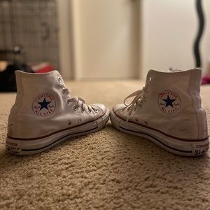 White high top converse. Size MENS 6, WOMENS 8